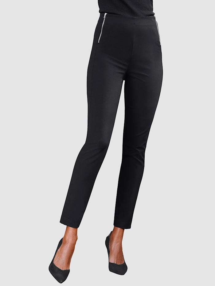 Alba Moda Pantalon avec glissières fantaisie à la taille, Noir