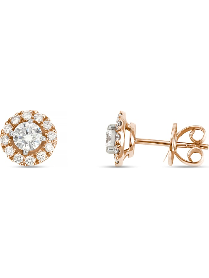 CHRIST Damen-Ohrstecker 585er Weißgold, 585er Rosegold 2 Diamant