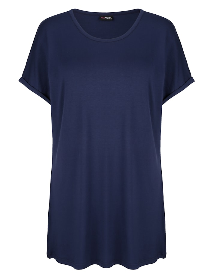 MIAMODA Longshirt mit überschnittener Schulter, Marineblau