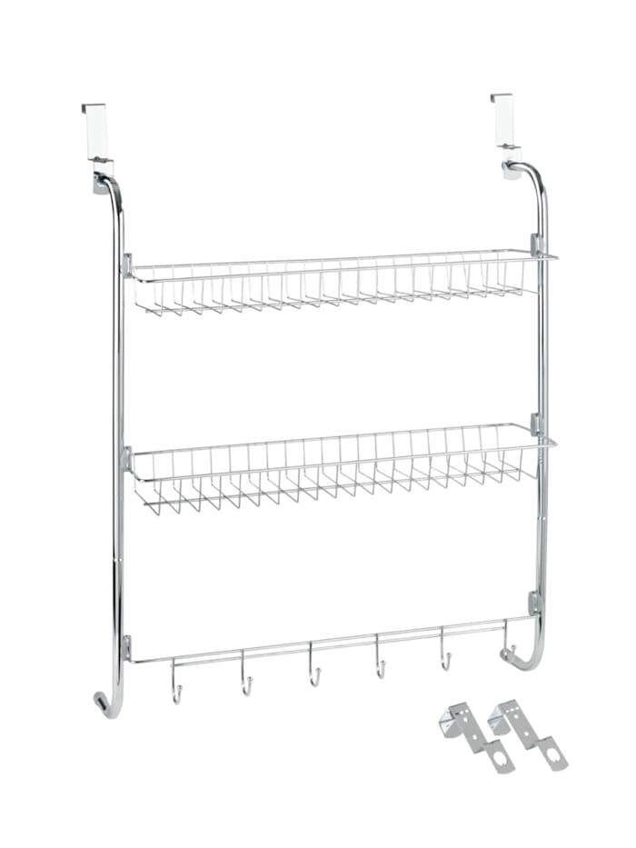 Wenko Türregal mit 2 Ablagen und 6 Haken, Silber glänzend, Schutzkappen PVC: Grau - Hellgrau