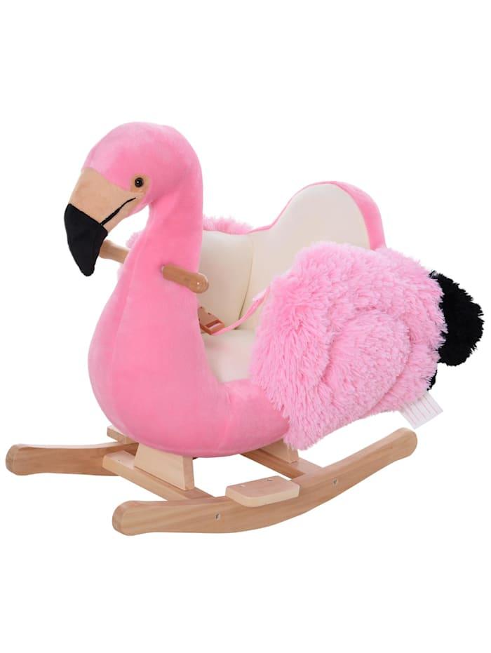 HOMCOM Kinder Schaukeltier als Flamingo, rosa