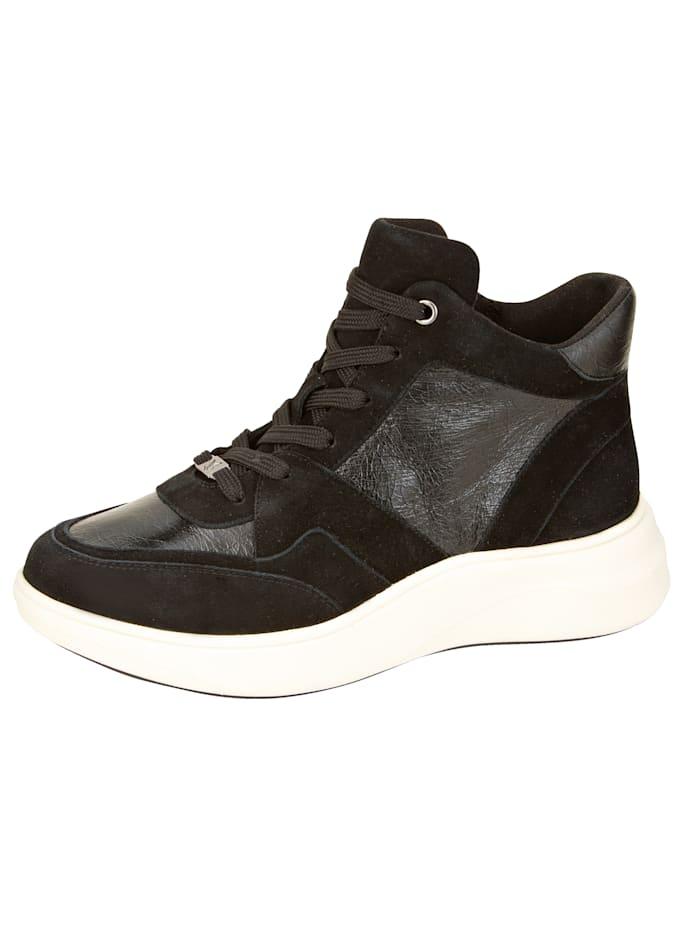 Caprice Sneaker van een mooie leercombinatie, Zwart