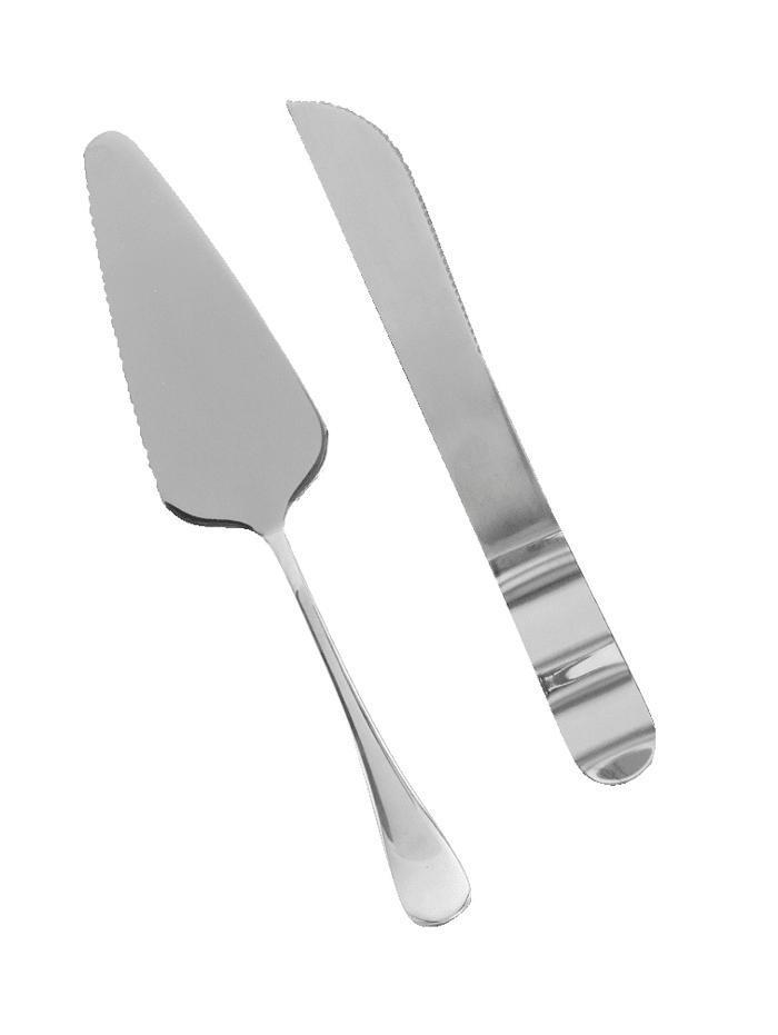 Zeller Sett med kakekniv og kakespade, sølvfarget
