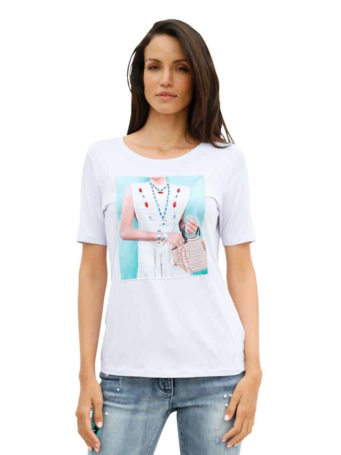 AMY VERMONT Shirt mit aufgenähtem Druck im Vorderteil, Weiß