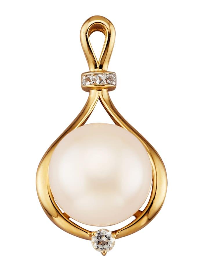 Amara Perles Pendentif avec perle bouton de culture d'eau douce, Blanc