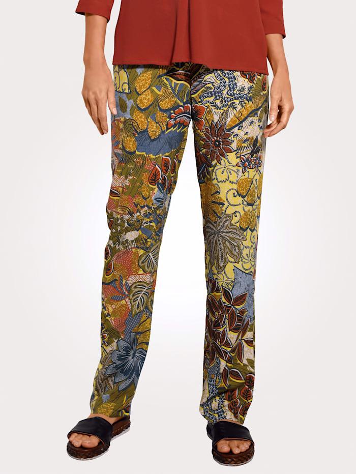 MONA Pantalon à motif floral, Olive/Brique/Ocre