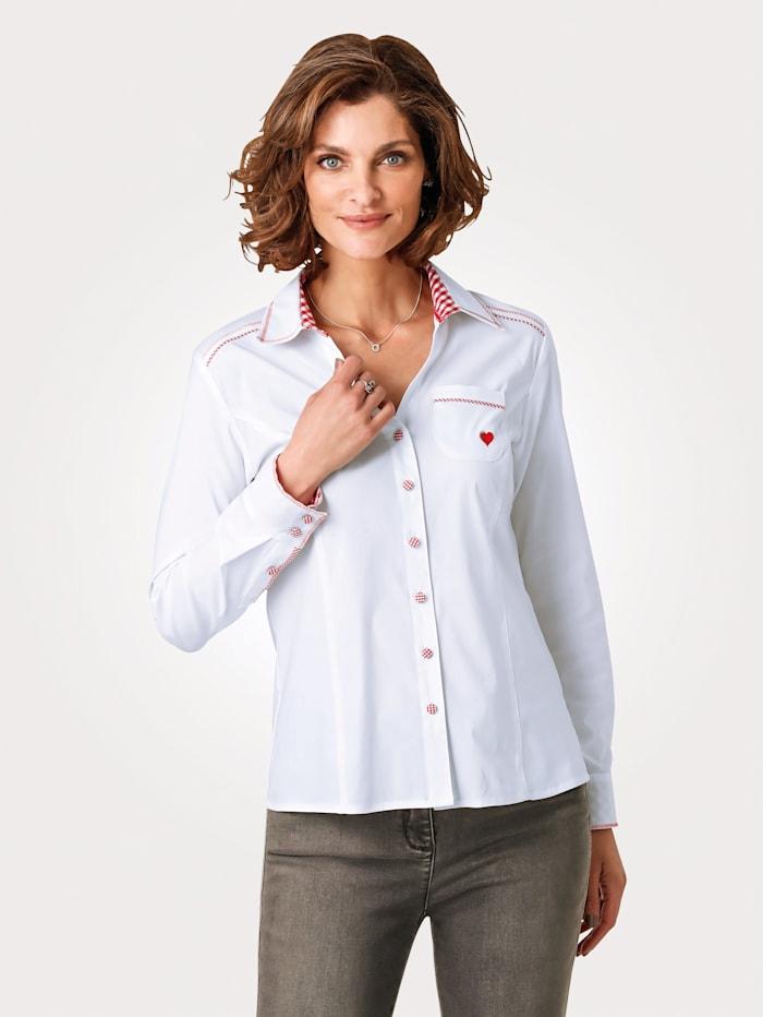 MONA Bluse mit Stickerei, Weiß/Rot