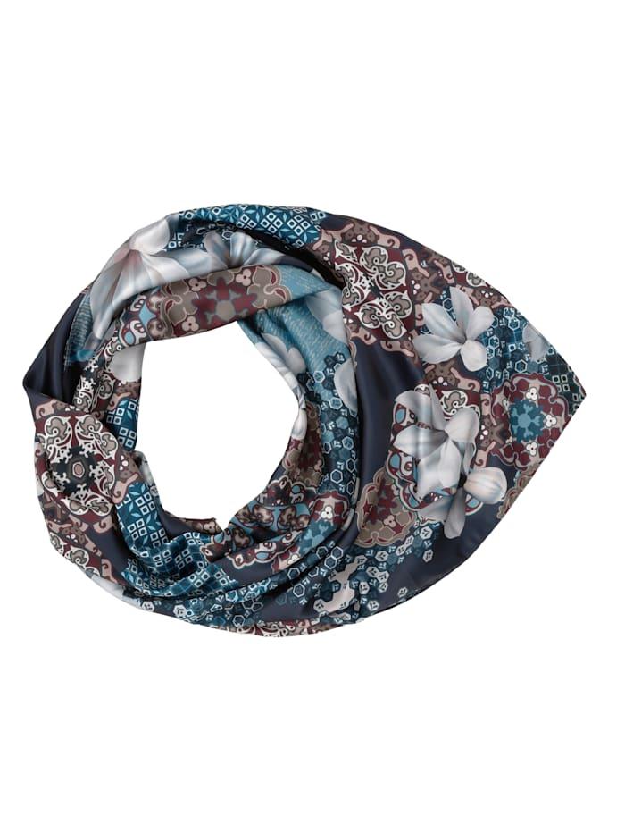 Paola Scarf i lätt glansigt material, marinblå/flerfärgad