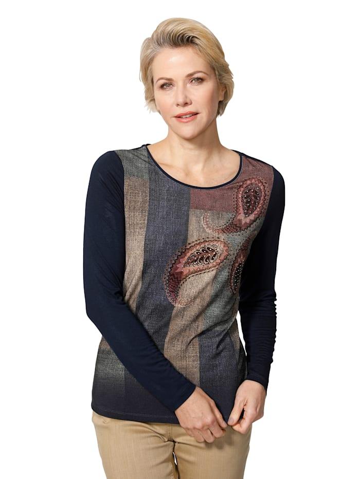 Shirt met print in patchworklook