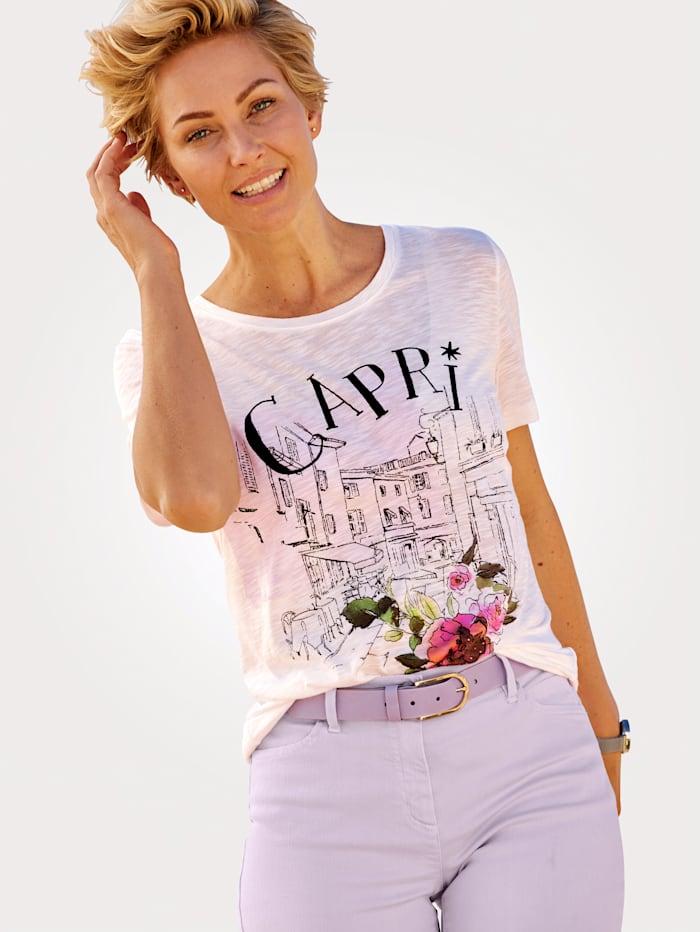 MONA T-shirt à ravissant imprimé, Écru/Noir/Multicolore