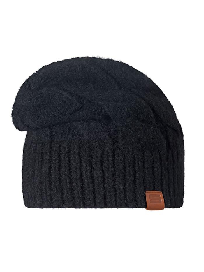 Stöhr BENZA - kuschelige längere Damenmütze mit Zopfmuster, schwarz