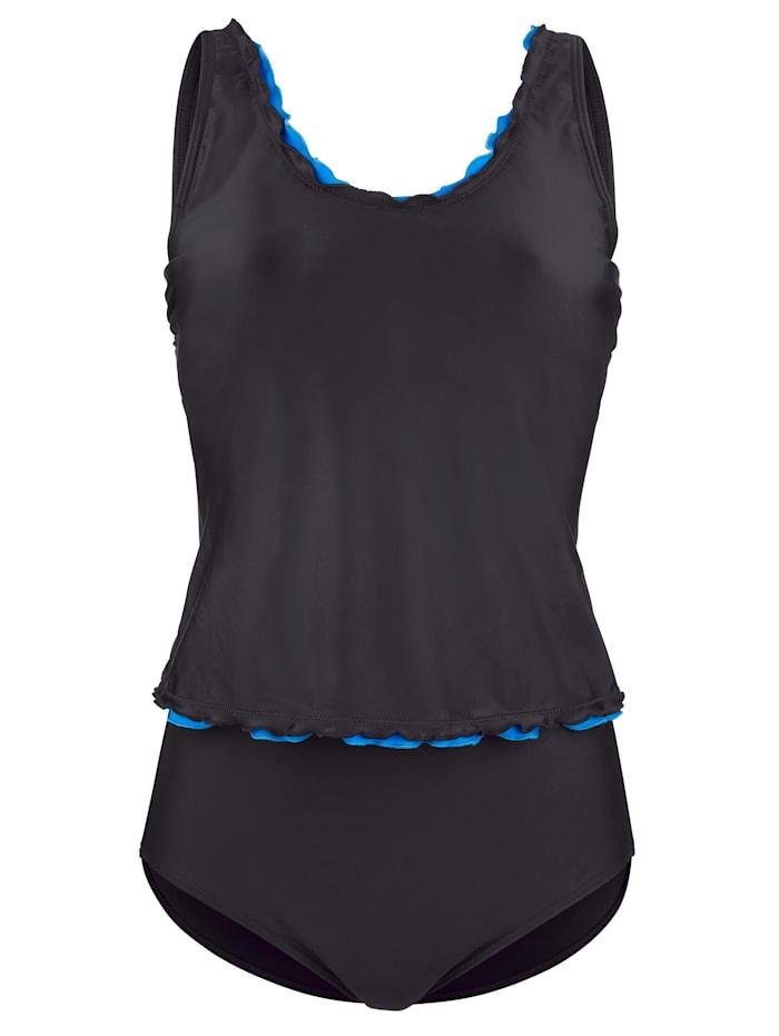 Maritim Tankini à finition ondulée, Noir/Turquoise
