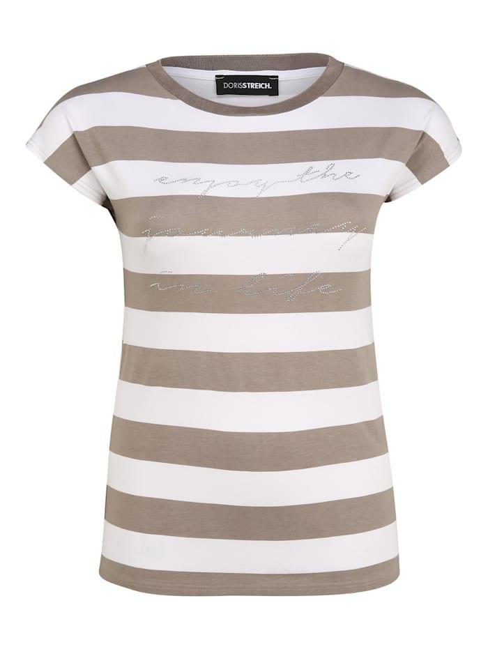 Doris Streich T-Shirt mit Streifen-Muster Glitzereffekt, sand