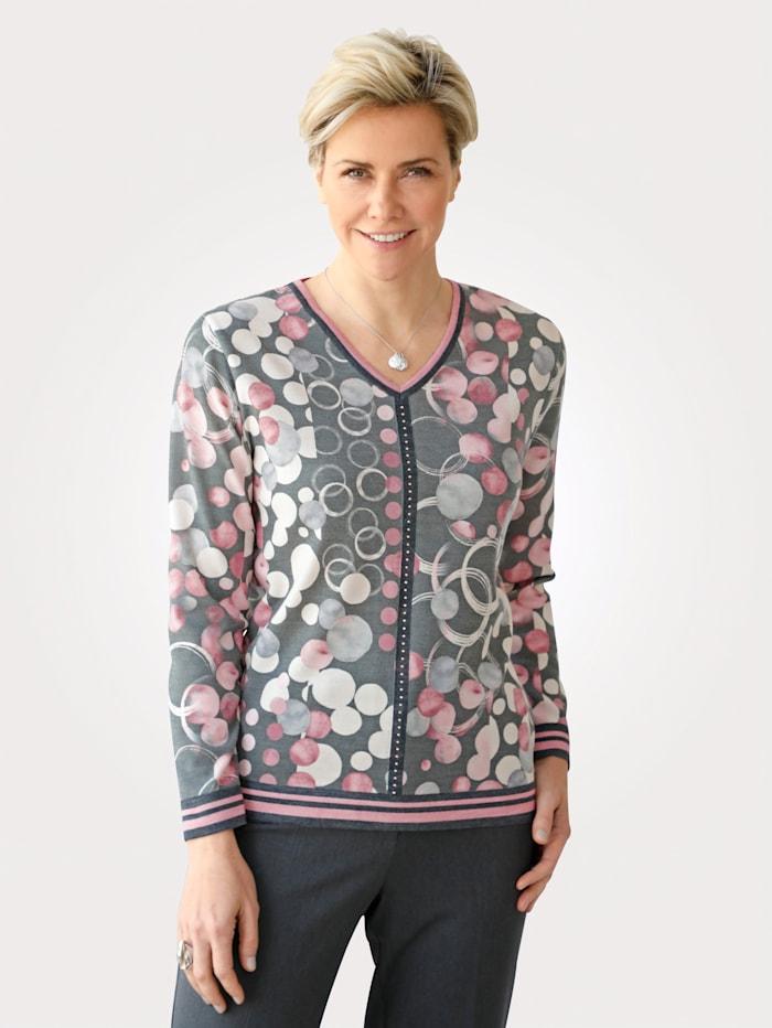 DiStrick Pullover mit allover Druck, Rosé/Grau