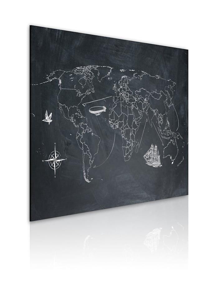 artgeist Wandbild Weltreise, Grau,Weiß