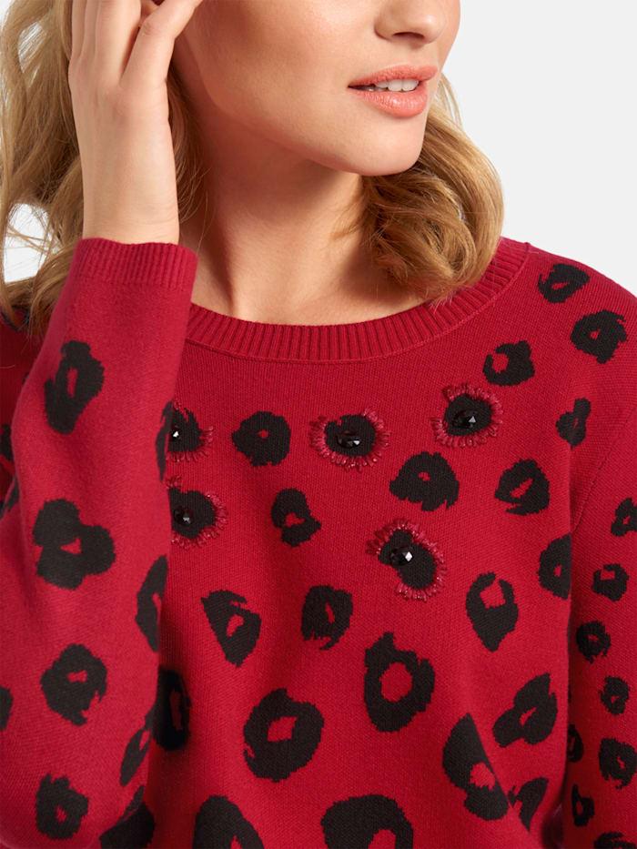 Pullover mit Leo-Muster und Glitzersteinchen