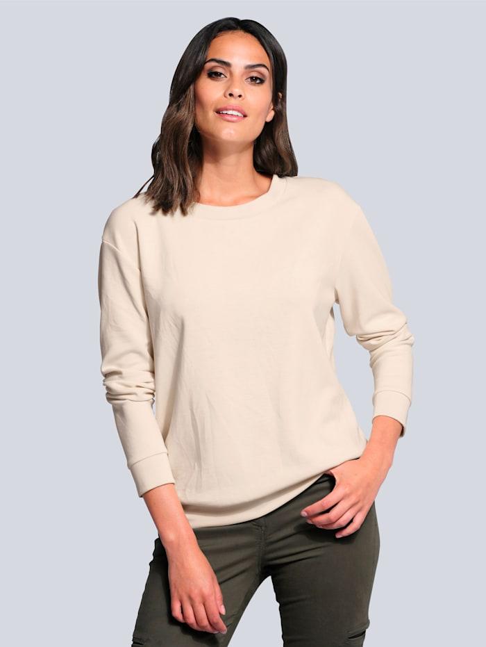 Alba Moda Sweatshirt in hochwertigem Materialmix, Sand