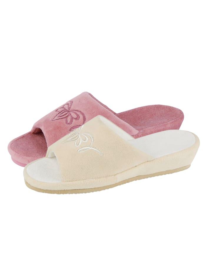 Belafit Pantoffeln im 2-er Pack, Rosé/Weiß