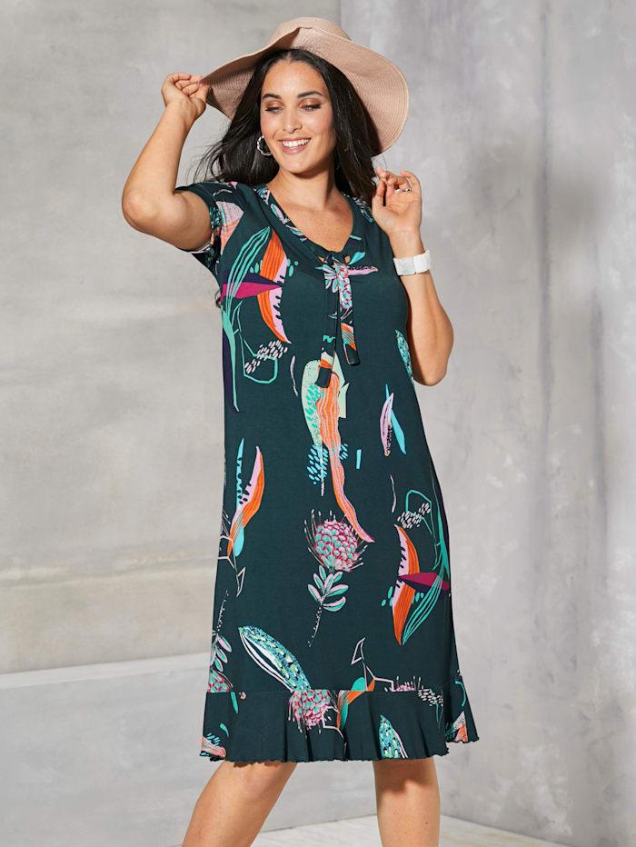 MIAMODA Kleid mit dekorativer Schnürung am Ausschnitt, Grün
