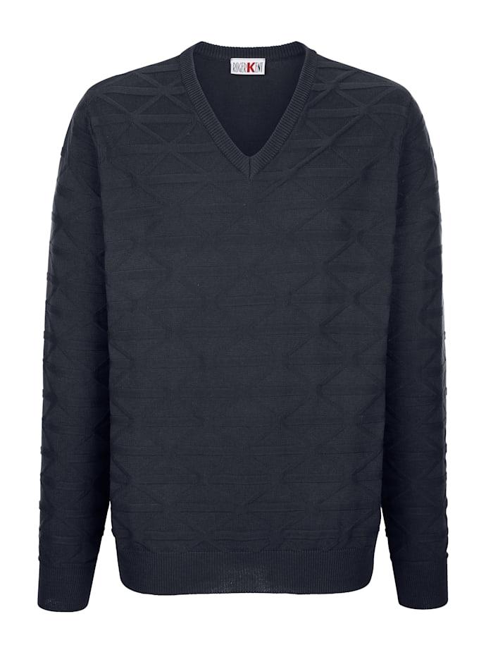 Roger Kent V-ringad tröja med stickat mönster, Marinblå