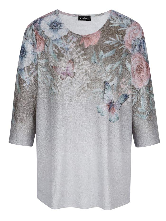 Feinstrickshirt mit platziertem, floralem Druckdesign