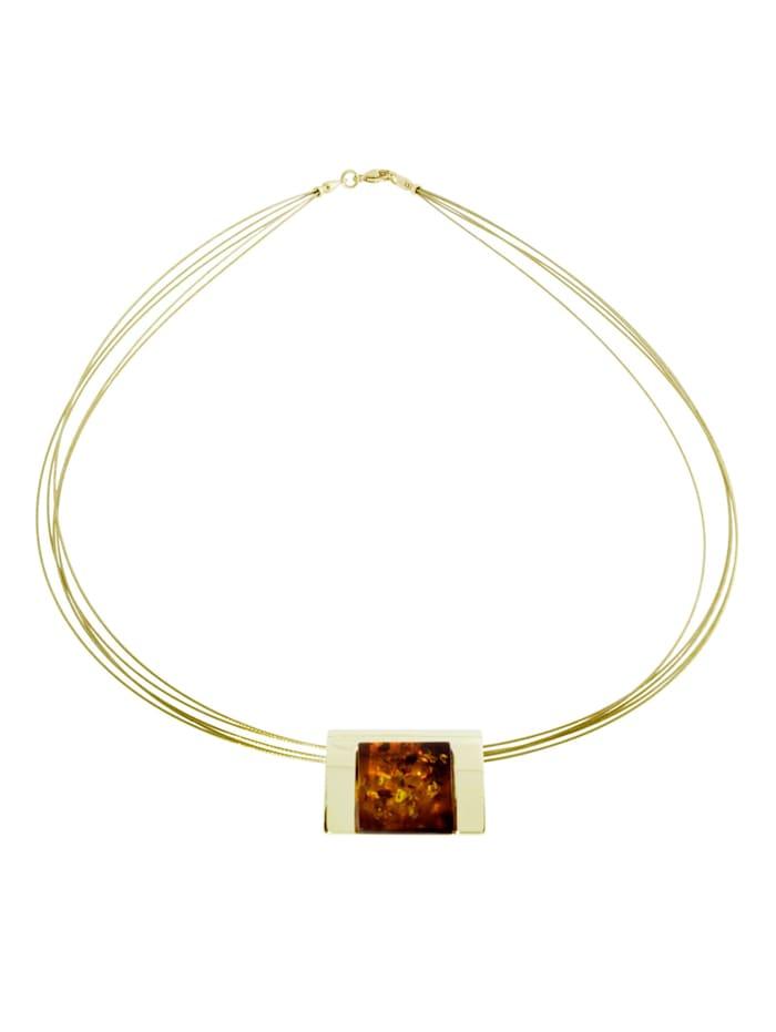 Halsreif mit Anhänger - Gleiter-Urte - Gold 333/000 - Bernstein