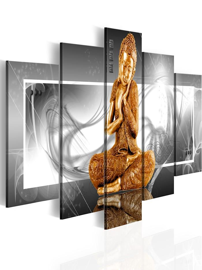 artgeist Wandbild Buddhistisches Gebet, Weiß,Grau,Gold