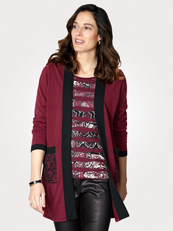 MONA Cardigan in a fine knit, Bordeaux/Black