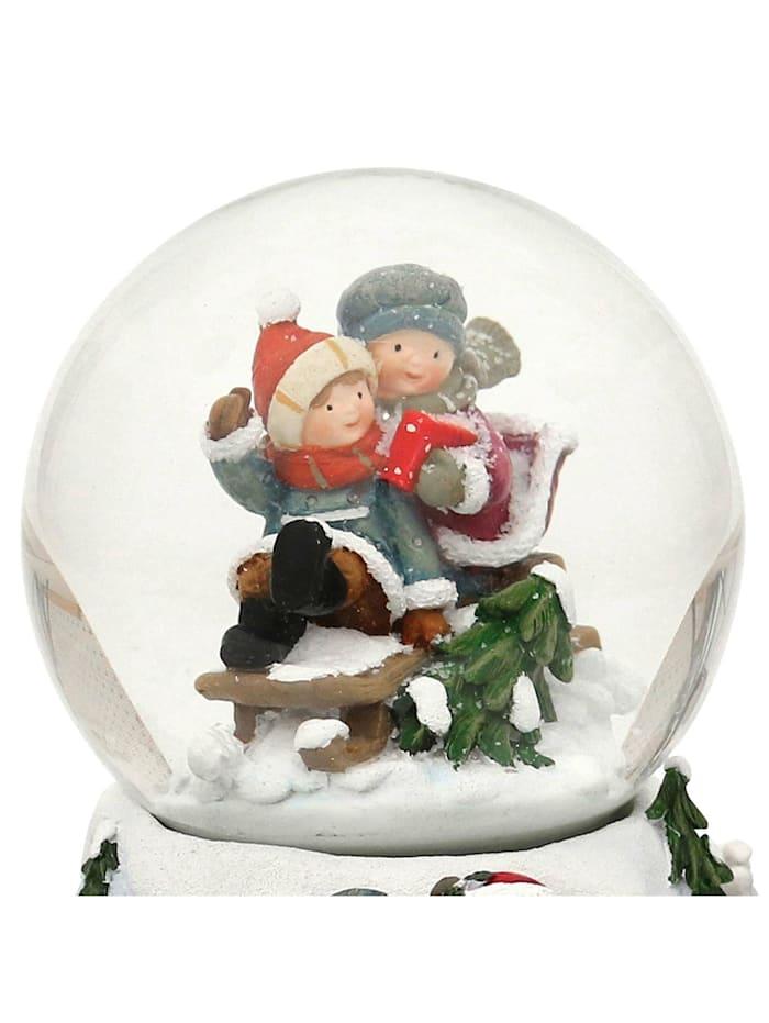 Sigro Schneekugel Kinder auf Schlitten, Bunt