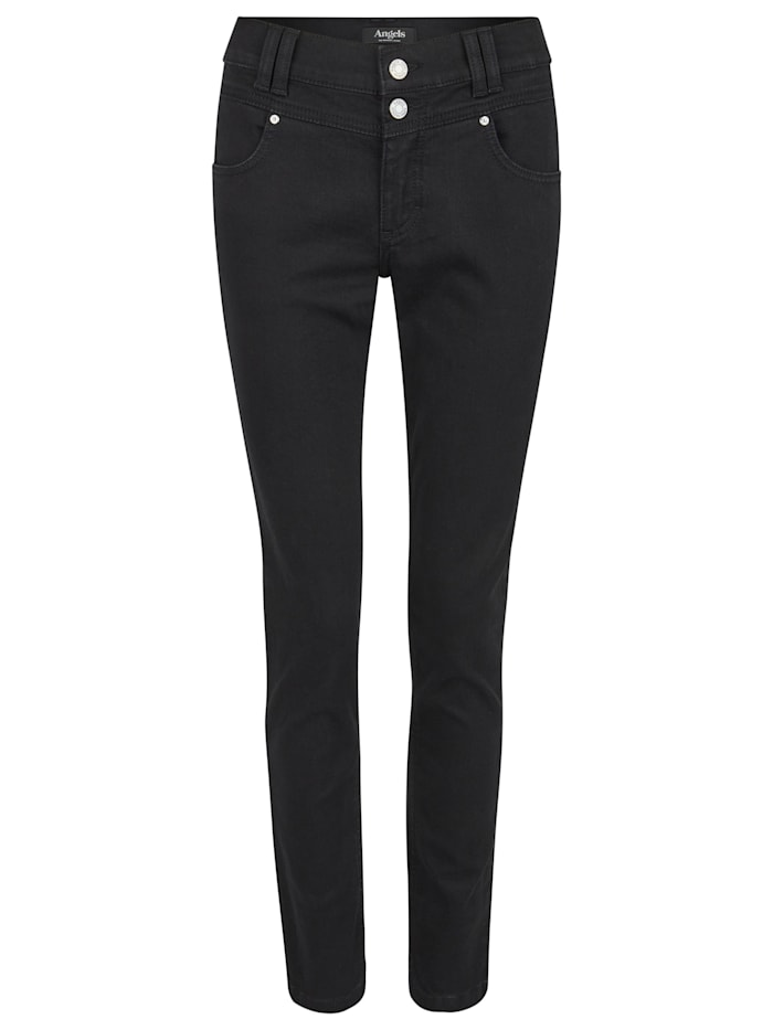 Angels Jeans 'Skinny Button' mit Doppelknopf-Verschluss, black