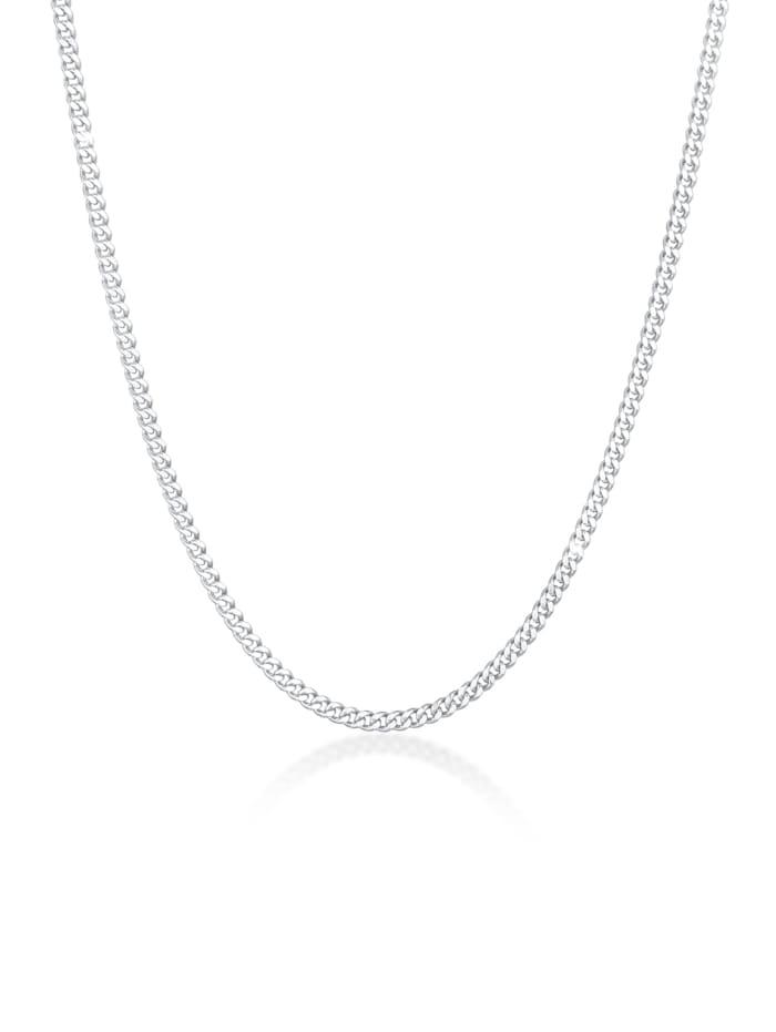 Kuzzoi Halskette Basic Männer Panzerkette Massiv Robust 925 Silber, Silber