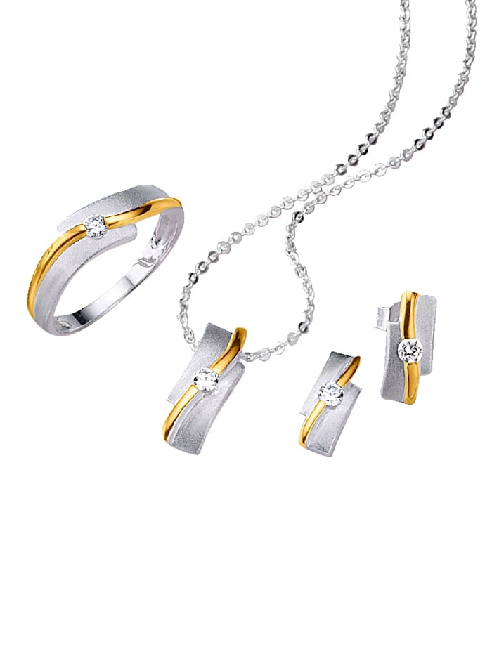 KLiNGEL 4tlg. Schmuck-Set bicolor, Silberfarben/Gelbgoldfarben