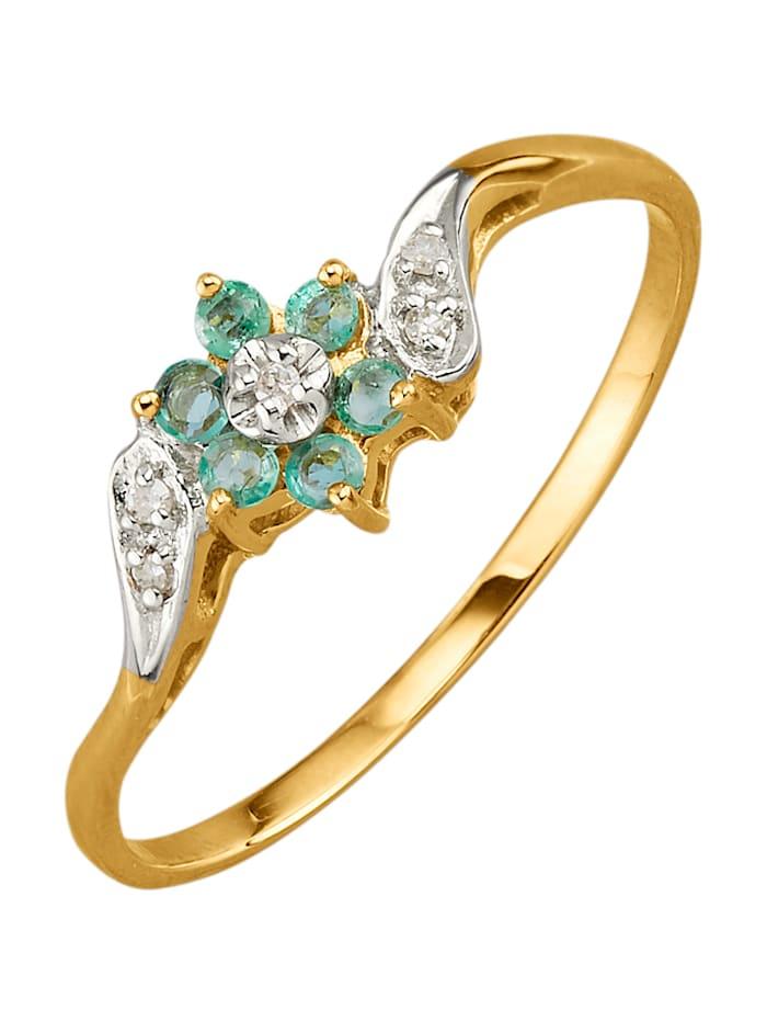 Damenring mit Smaragden und Diamanten, Grün