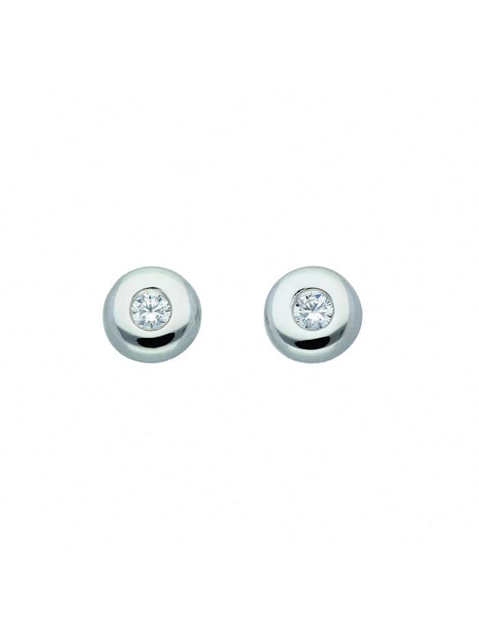 1001 Diamonds Damen Silberschmuck 925 Silber Ohrringe / Ohrstecker mit Zirkonia Ø 4,4 mm, silber