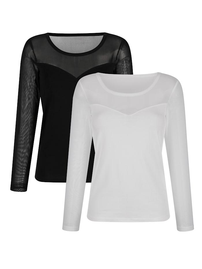 Harmony Blazershirts im 2er-Pack mit Mescheinsatz, Schwarz/Weiß