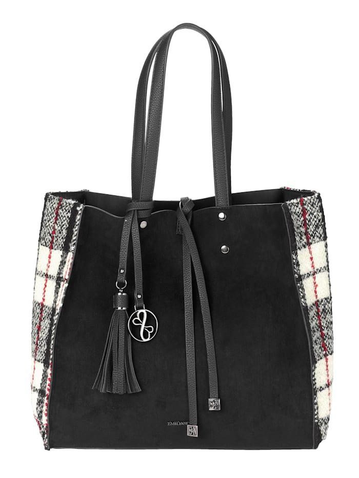 EMILY & NOAH Shopper 2-delig met afneembare hanger met kwastje van EMILY&NOAH 2-delig, zwart gecombineerd