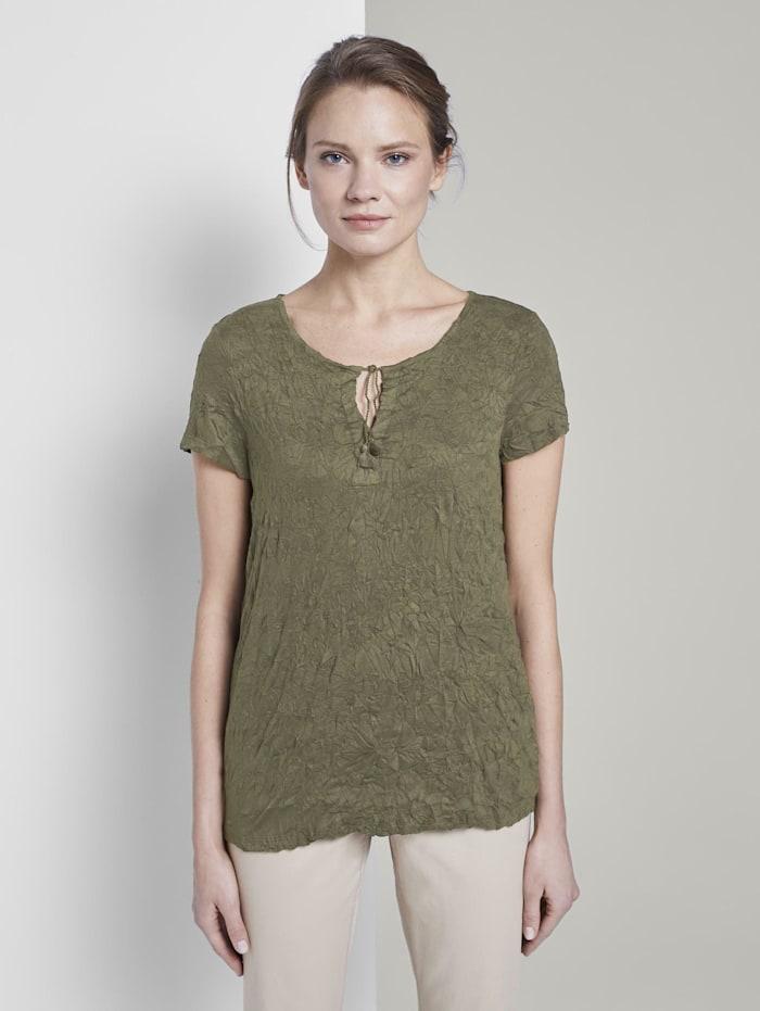 Gemustertes T-Shirt mit Bindedetail in Crincle-Optik