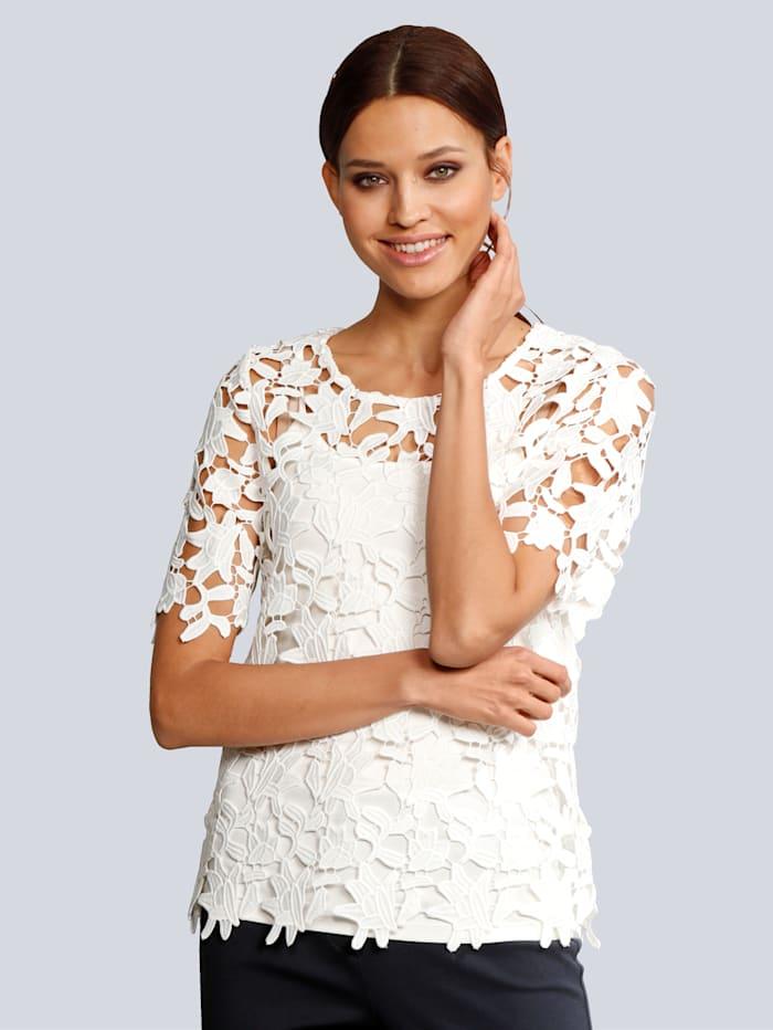 Alba Moda Bluse aus femininer Spitze, Off-white
