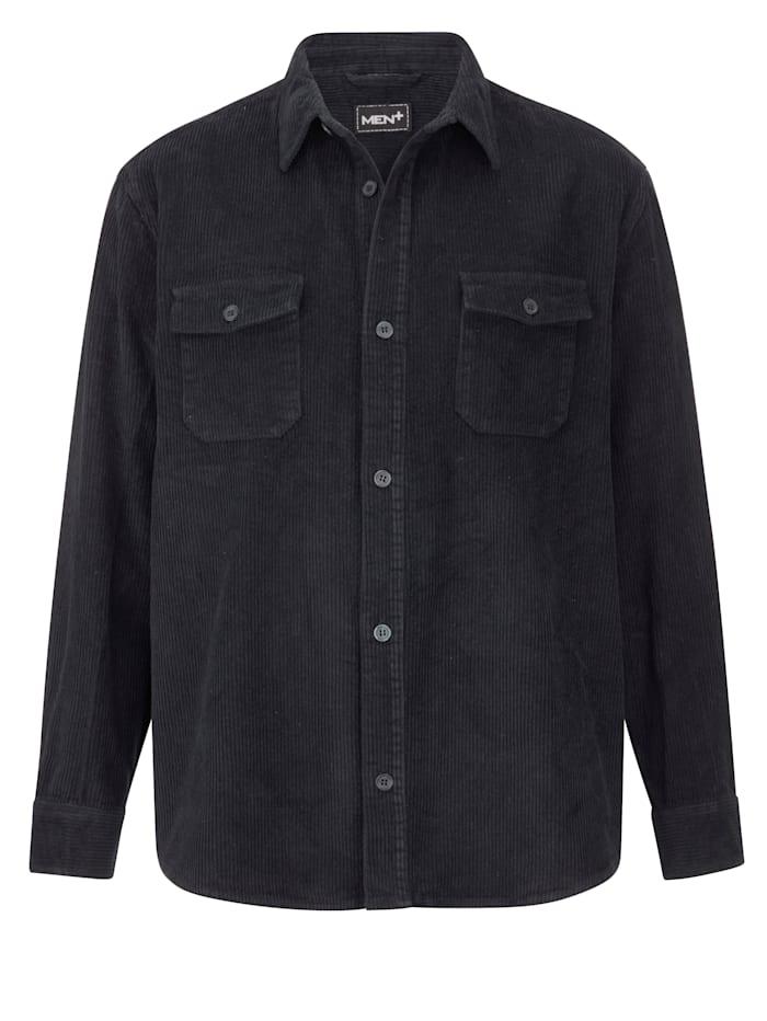 Men Plus Overhemd van ribcord met twee borstzakken, Marine