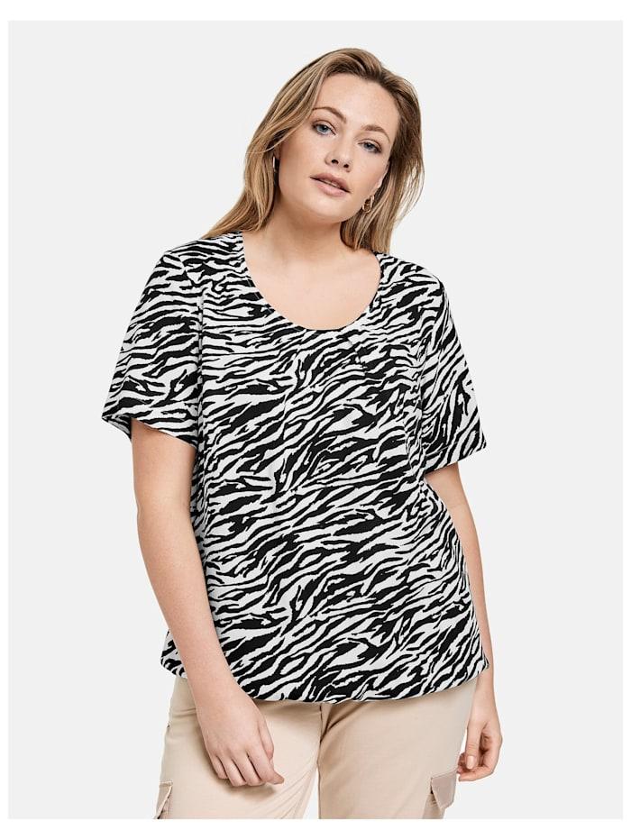 Samoon Blusenshirt im Zebra-Design, Black gemustert