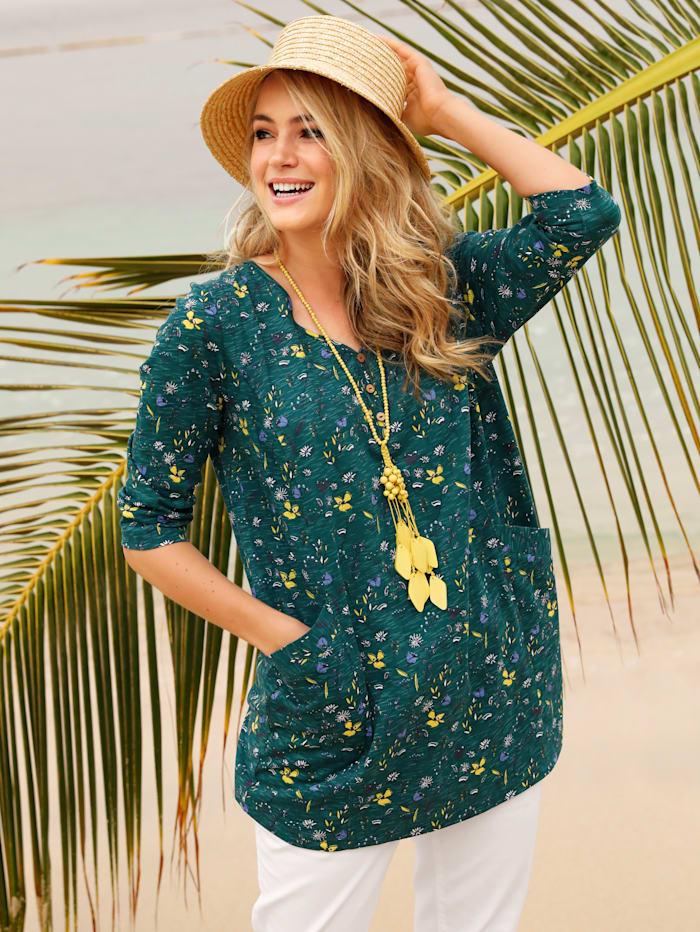 MIAMODA Longshirt met bloemenprint, Groen