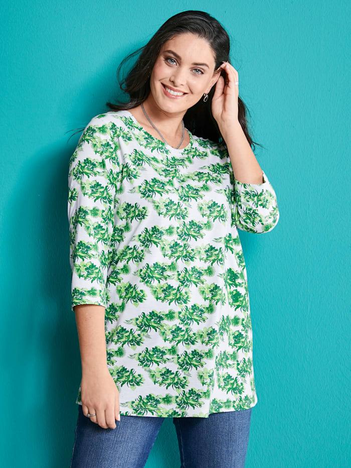 MIAMODA Tričko s květinovým potiskem, Bílá/Zelená