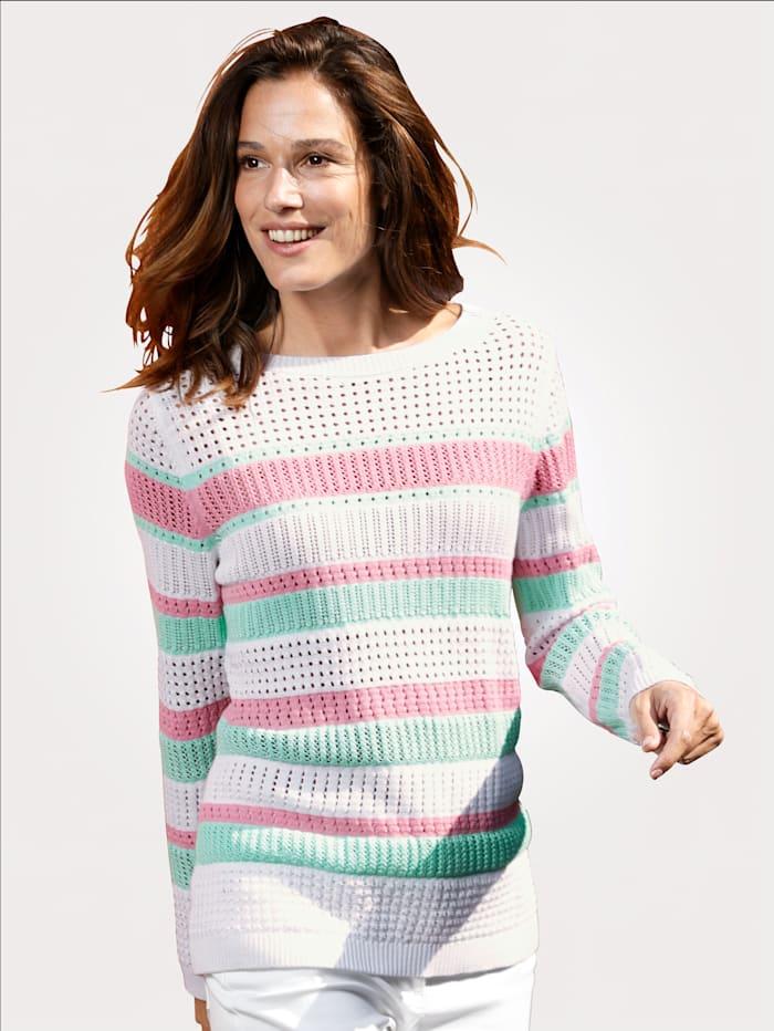 MONA Pullover aus semi-transparentem Ajourstrick, Weiß/Mintgrün/Pink