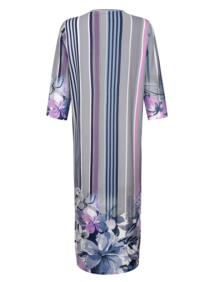 Hauskleid mit hübschem Bordürendruck rundum