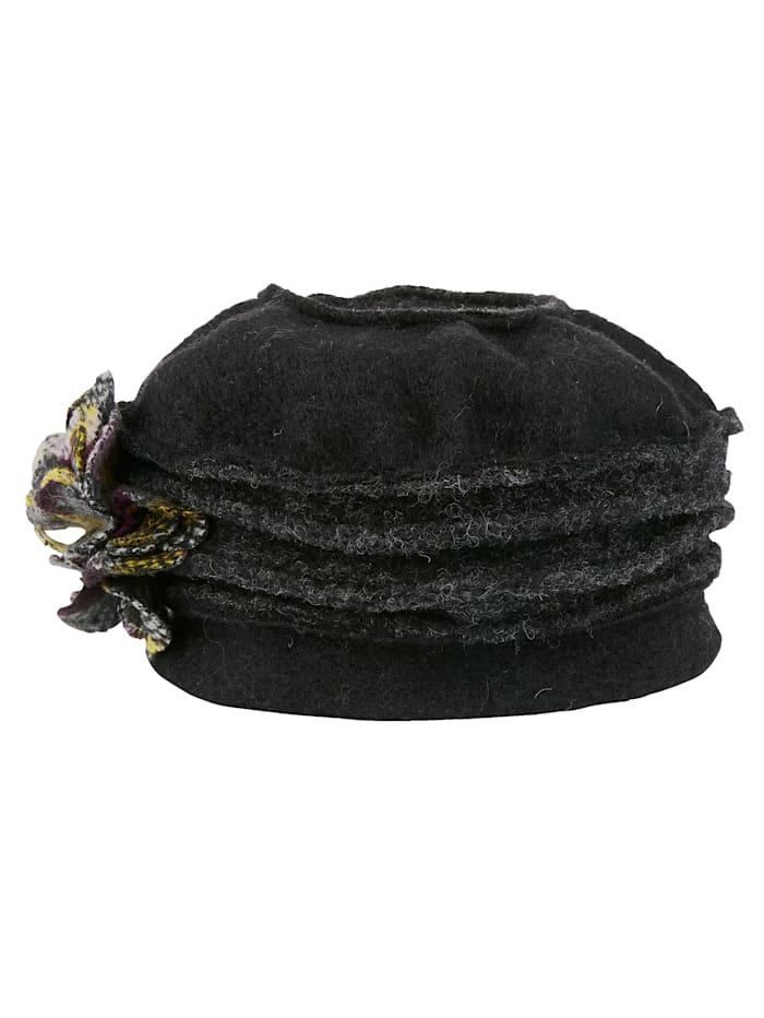MONA Chapeau avec fleur décorative, Noir/baies/jaune