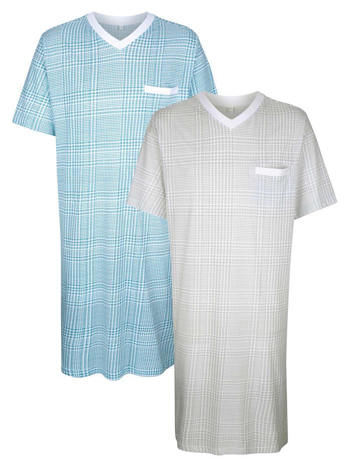 Roger Kent Nachthemden mit seitlichen Schlitzen, Grau/Türkis