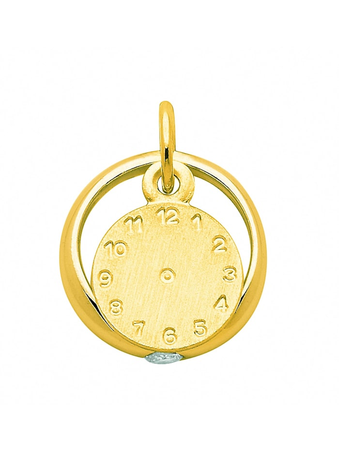 1001 Diamonds Damen Goldschmuck 333 Gold Anhänger Taufuhr mit Zirkonia Ø 11,1 mm, gold