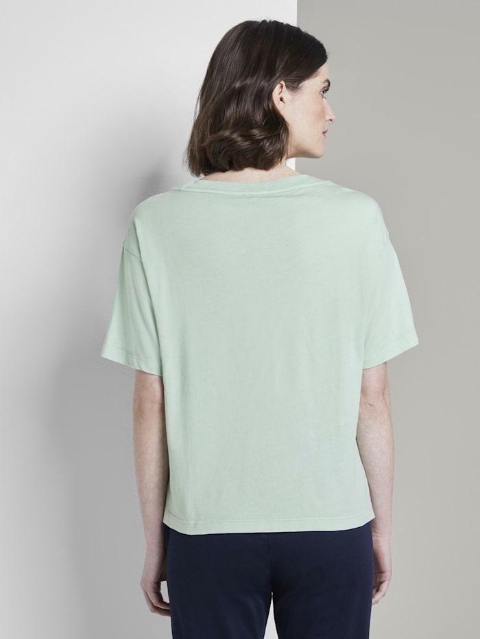 T-Shirt in Farbwaschung mit kleinem Print