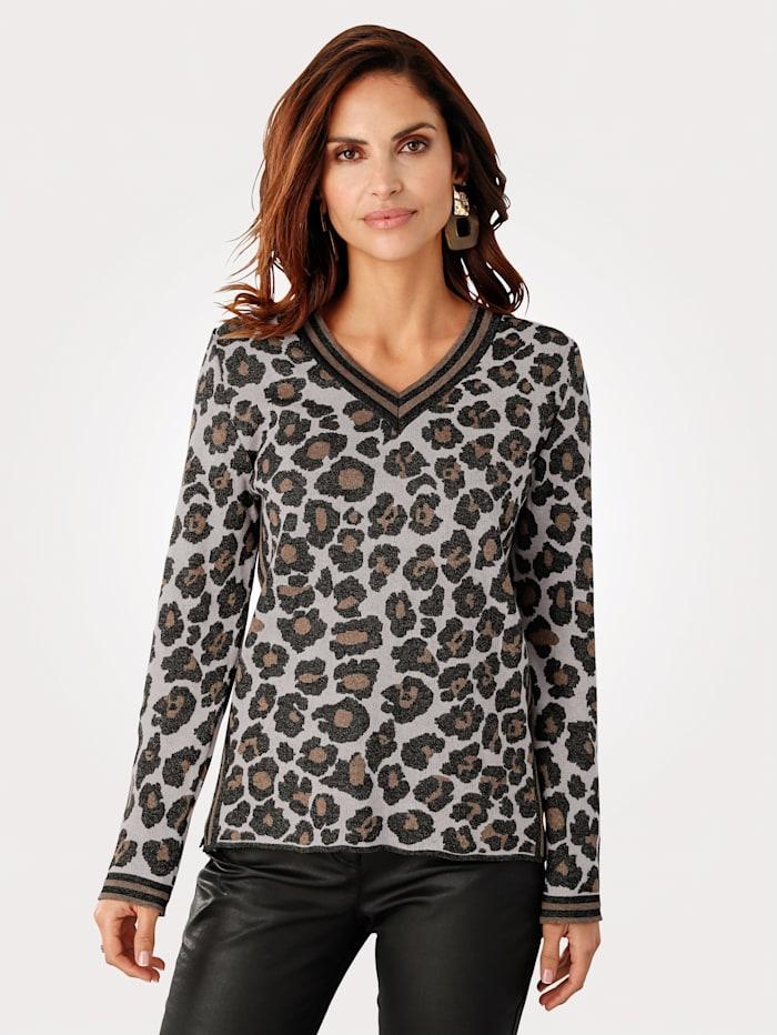 Rabe Pullover mit Tierfellmuster, Beige/Braun