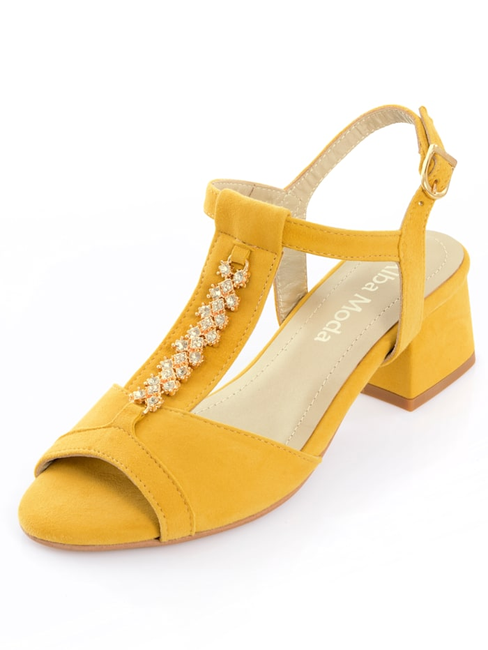 Alba Moda Sandalette mit Schmuckapplikation, Senfgelb